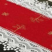 Trilho de Mesa Natal com Bordado Richelieu 40x85cm Avulso - Noeli Vermelho - Dui Design