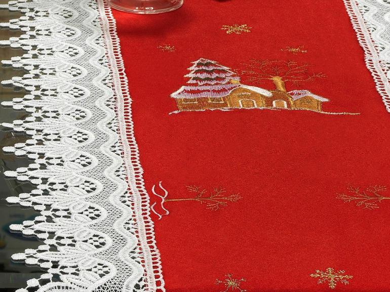 Trilho de Mesa Natal com Bordado Richelieu 45x170cm Avulso - Noeli Vermelho - Dui Design