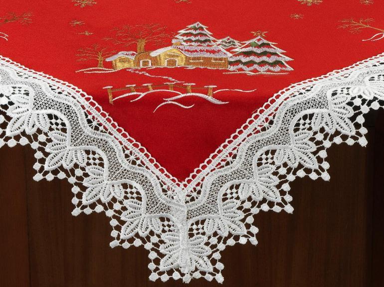 Centro de Mesa Natal Quadrado com Bordado Richelieu 85x85cm - Noeli Vermelho - Dui Design