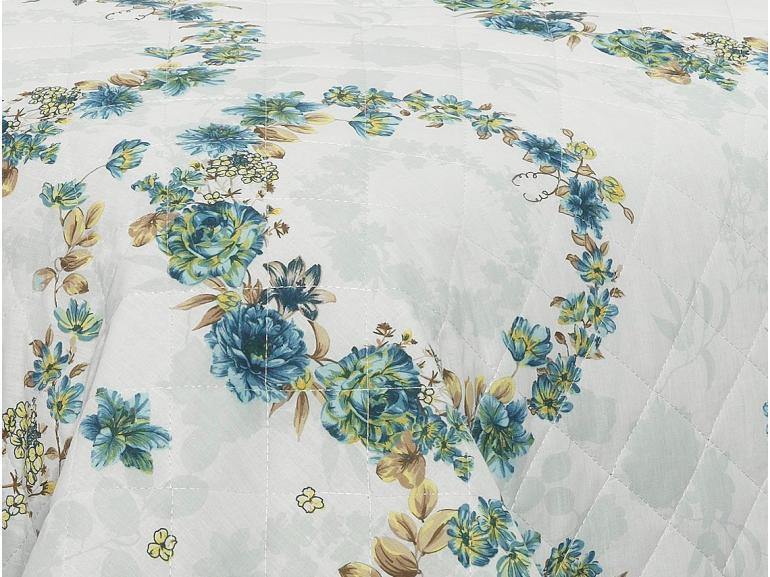 Kit: 1 Cobre-leito Solteiro + 1 Porta-travesseiro 150 fios - Noemi Azul - Dui Design