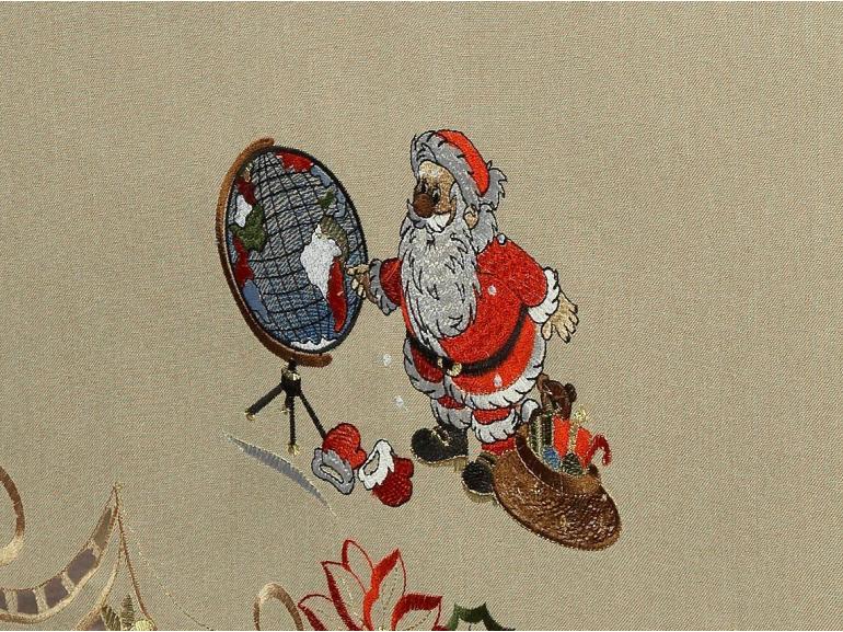 Toalha de Mesa Natal com Bordado Richelieu Quadrada 4 Lugares 160x160cm - Noite Feliz Bege - Dui Design