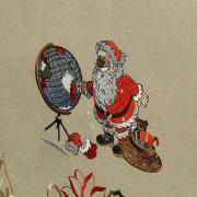 Toalha de Mesa Natal com Bordado Richelieu Quadrada 8 Lugares 220x220cm - Noite Feliz Bege - Dui Design