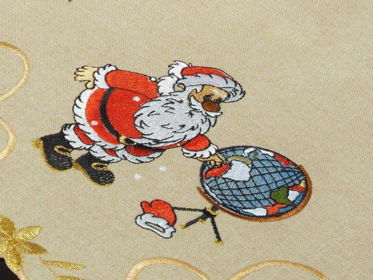 Jogo Americano Natal 4 Lugares (4 peças) com Bordado Richelieu 35x50cm - Noite Feliz Bege - Dui Design