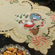 Trilho de Mesa Natal com Bordado Richelieu 40x85cm Avulso - Noite Feliz Bege - Dui Design