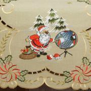 Trilho de Mesa Natal com Bordado Richelieu 45x170cm Avulso - Noite Feliz Bege - Dui Design