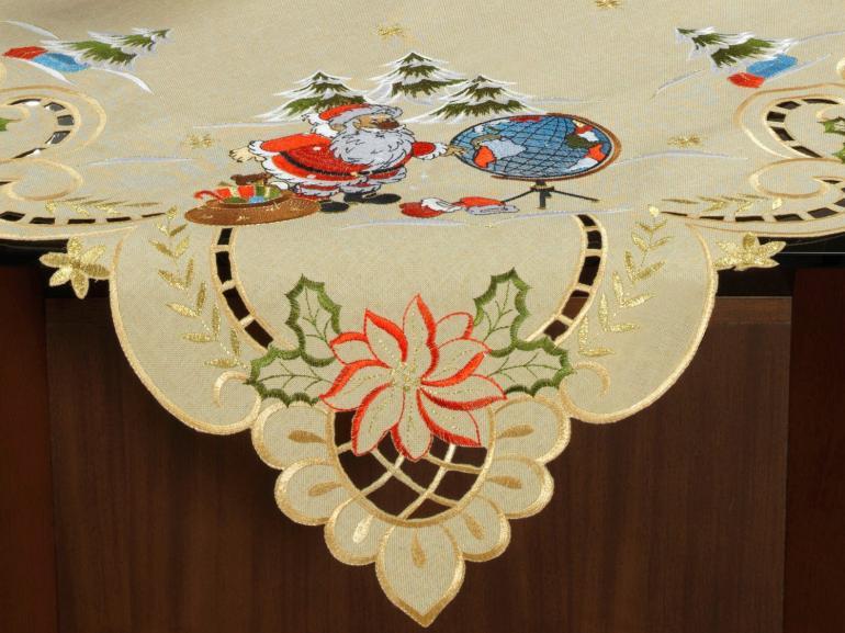 Centro de Mesa Natal Quadrado com Bordado Richelieu 85x85cm - Noite Feliz Bege - Dui Design