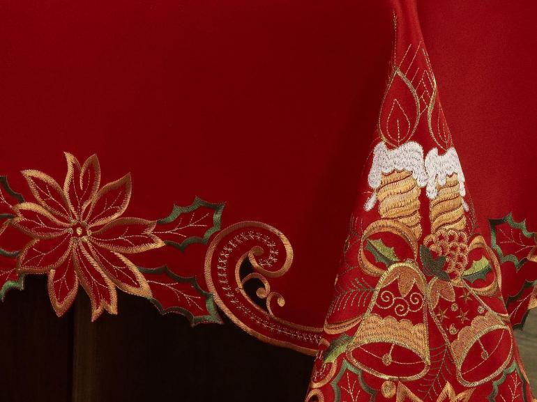 Toalha de Mesa Natal com Bordado Richelieu Quadrada 4 Lugares 160x160cm - Noite Feliz Vermelho - Dui Design