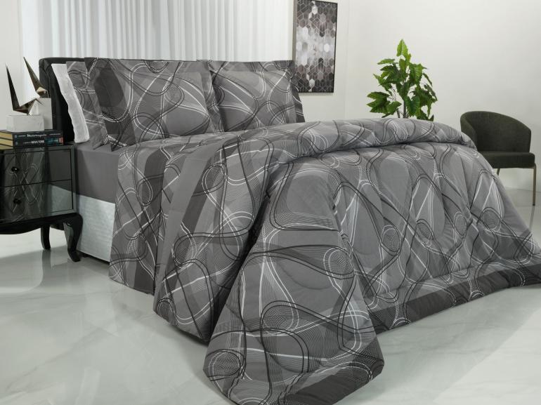 Jogo de Cama Queen Percal 200 fios - Normani Cinza - Dui Design