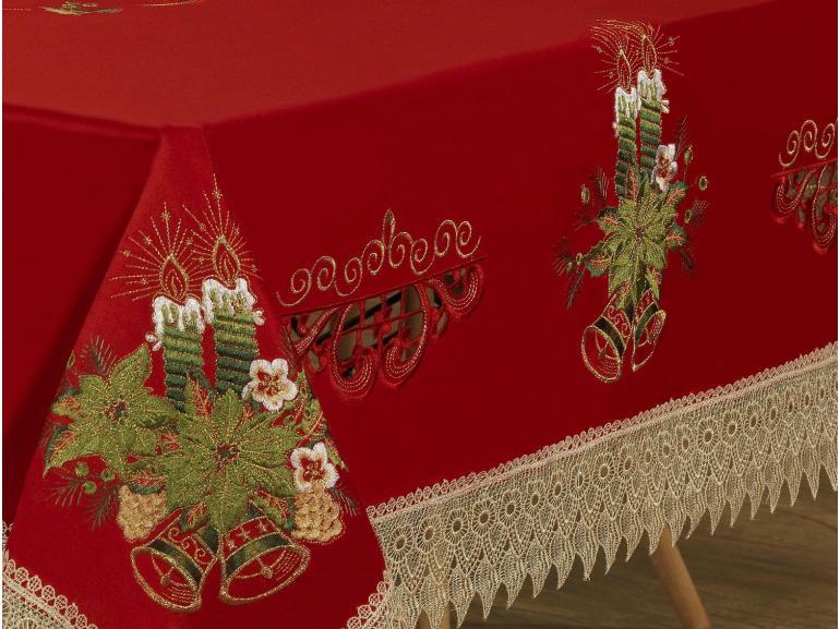 Toalha de Mesa Natal com Bordado Richelieu Quadrada 4 Lugares 160x160cm - Nostalgia Vermelho - Dui Design