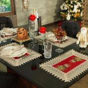 Jogo Americano Natal 4 Lugares (4 peças) com Bordado Richelieu 35x50cm - Nostalgia Vermelho - Dui Design