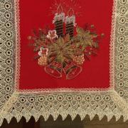 Trilho de Mesa Natal com Bordado Richelieu 45x170cm Avulso - Nostalgia Vermelho - Dui Design