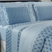 Jogo de Cama Queen Cetim 300 fios - Notorious Azul - Dui Design