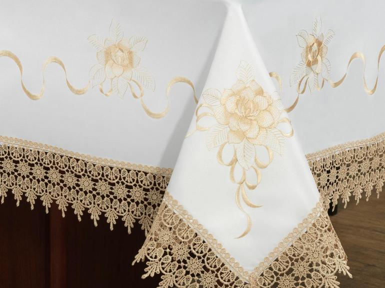 Toalha de Mesa com Bordado Richelieu Quadrada 8 Lugares 220x220cm - Ohana Branco e Bege - Dui Design