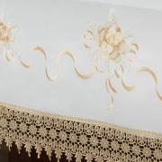 Toalha de Mesa com Bordado Richelieu Retangular 8 Lugares 160x270cm - Ohana Branco e Bege - Dui Design