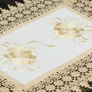 Jogo Americano 4 Lugares (4 peças) com Bordado Richelieu 35x50cm - Ohana Branco e Bege - Dui Design