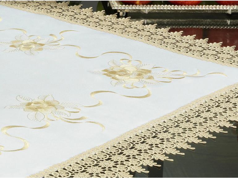 Centro de Mesa Quadrado com Bordado Richelieu 85x85cm - Ohana Branco e Bege - Dui Design
