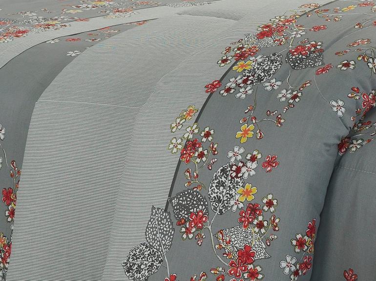 Enxoval King com Edredom 5 peças 150 fios - Okawa Cinza - Dui Design