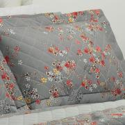 Kit: 1 Cobre-leito King + 2 Porta-travesseiros 150 fios - Okawa Cinza - Dui Design