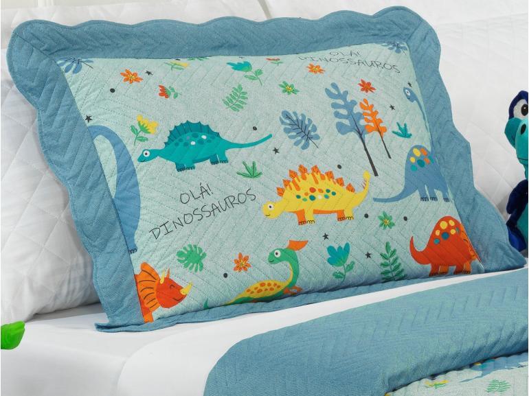 Kit: 1 Cobre-leito Solteiro Kids Bouti de Microfibra PatchWork Ultrasonic + 1 Porta-travesseiro - Ola Dinos Azul - Dui Design