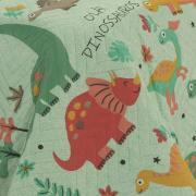 Kit: 1 Cobre-leito Solteiro Kids Bouti de Microfibra PatchWork Ultrasonic + 1 Porta-travesseiro - Ola Dinos Verde - Dui Design