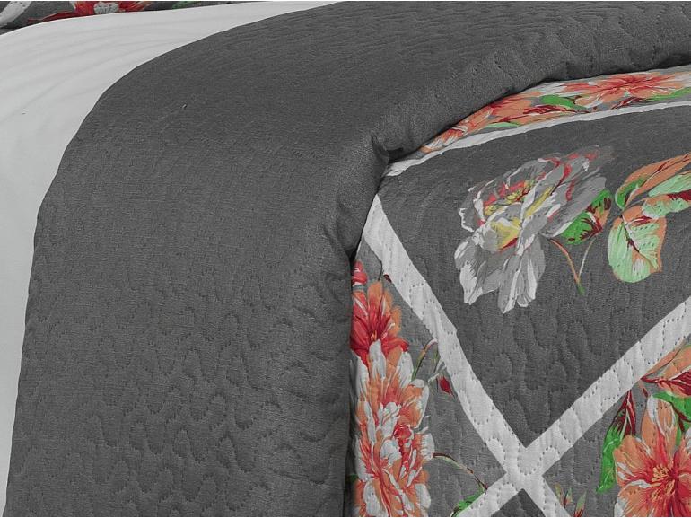 Kit: 1 Cobre-leito Casal Bouti de Microfibra Ultrasonic Estampada + 2 Porta-travesseiros - Olinda Rosa - Dui Design