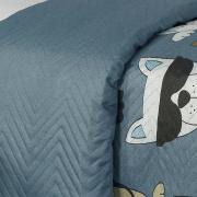 Kit: 1 Cobre-leito Casal Kids Bouti de Microfibra PatchWork Ultrasonic + 2 Porta-travesseiros - Oliver Azul - Dui Design
