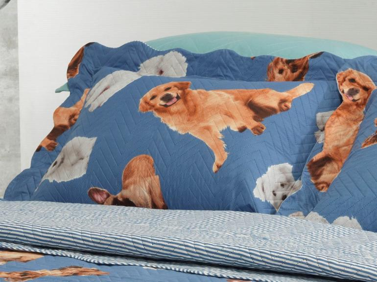 Kit: 1 Cobre-leito Queen Bouti de Microfibra Ultrasonic Estampada + 2 Porta-travesseiros - Only Dogs Indigo - Dui Design