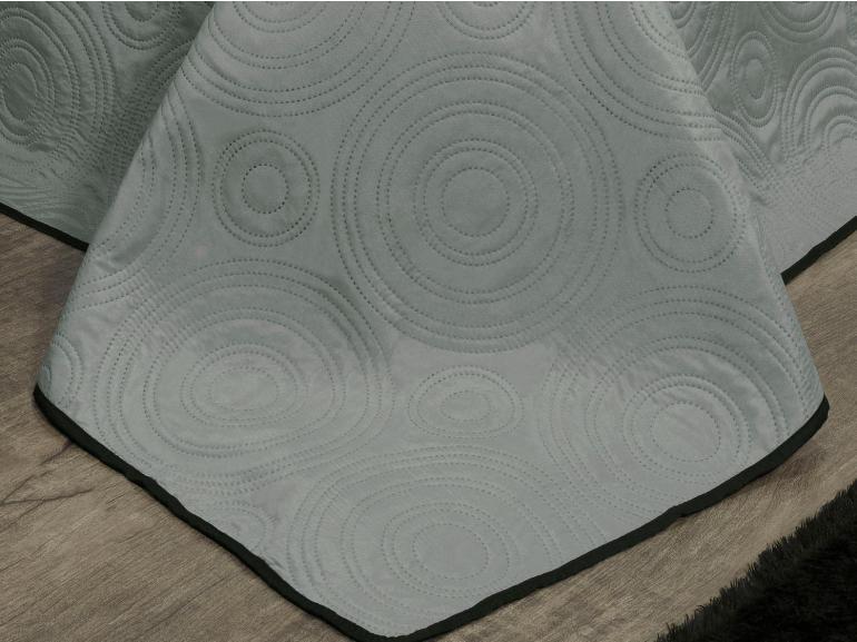 Kit: 1 Cobre-leito Casal Bouti de Microfibra Ultrasonic + 2 Porta-travesseiros - Orbis Cinza e Preto - Dui Design