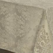 Toalha de Mesa Fácil de Limpar Retangular 6 Lugares 160x220cm - Ornato Bege - Dui Design