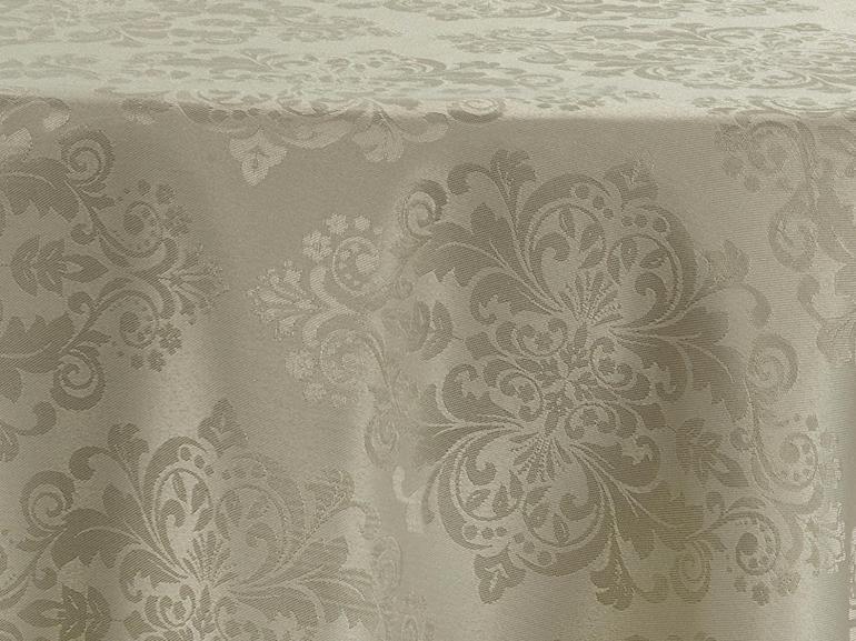 Toalha de Mesa Fácil de Limpar Redonda 220cm - Ornato Bege - Dui Design