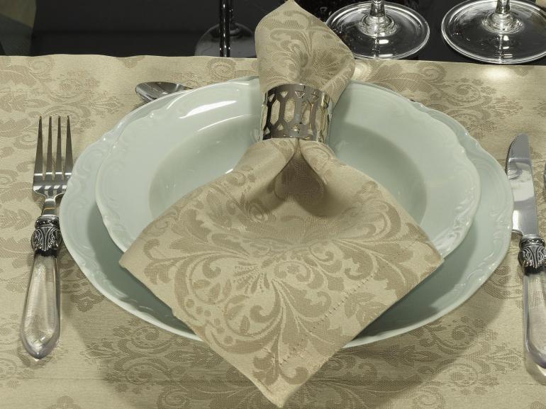 Kit: 4 Guardanapos 50x50cm - Ornato Bege - Dui Design
