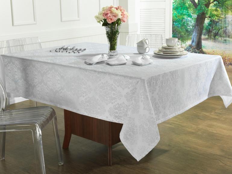 Toalha de Mesa Fácil de Limpar Retangular 6 Lugares 160x220cm - Ornato Branco - Dui Design