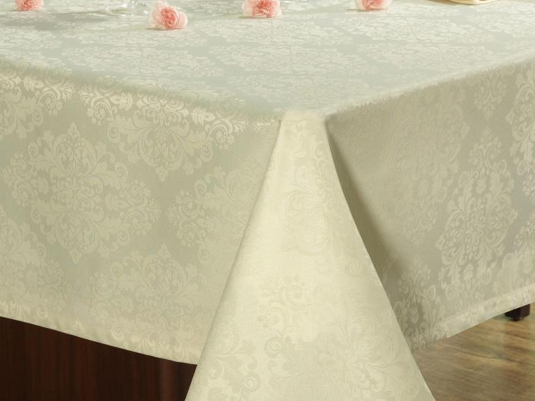 Toalha de Mesa Fácil de Limpar Retangular 6 Lugares 160x220cm - Ornato Champagne - Dui Design