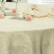 Toalha de Mesa Fácil de Limpar Redonda 220cm - Ornato Champagne - Dui Design
