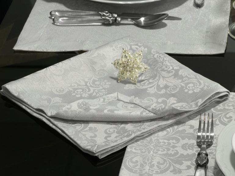 Kit: 4 Guardanapos 50x50cm - Ornato Cinza - Dui Design