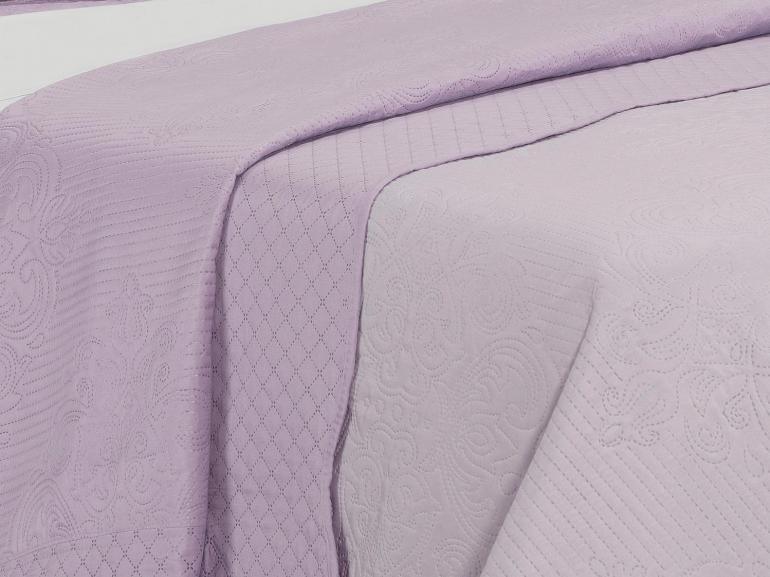 Kit: 1 Cobre-leito Casal Bouti de Microfibra Ultrasonic + 2 Porta-travesseiros - Ornato Lilás - Dui Design