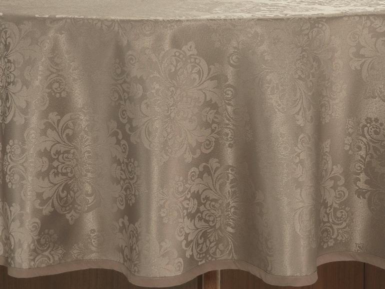 Toalha de Mesa Fácil de Limpar Redonda 220cm - Ornato Noz Moscada - Dui Design