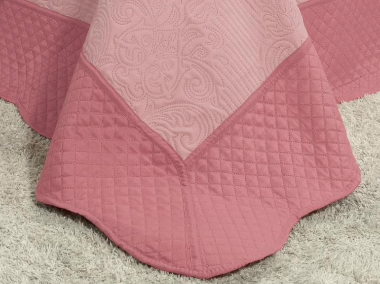 Kit: 1 Cobre-leito Casal Bouti de Microfibra Ultrasonic + 2 Porta-travesseiros - Ornato Rosa Velho - Dui Design