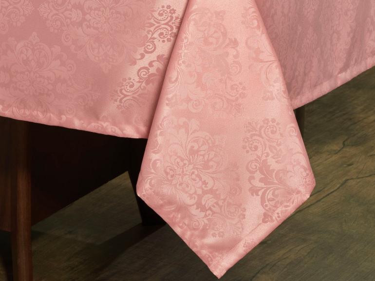 Toalha de Mesa Fácil de Limpar Retangular 10-12 Lugares 160x320cm - Ornato Rosa Velho - Dui Design