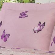 Kit: 1 Cobre-leito Solteiro + 1 Porta-travesseiro Percal 200 fios - Orquidarium Rosa Velho - Dui Design