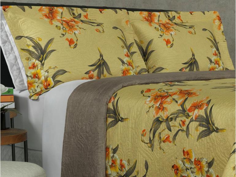 Kit: 1 Cobre-leito Queen Bouti de Microfibra Ultrasonic Estampada + 2 Porta-travesseiros - Orquideas Amarelo - Dui Design