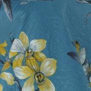 Kit: 1 Cobre-leito Casal Bouti de Microfibra Ultrasonic Estampada + 2 Porta-travesseiros - Orquídeas Azul - Dui Design
