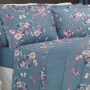 Jogo de Cama Casal 150 fios - Orvalho Azul - Dui Design