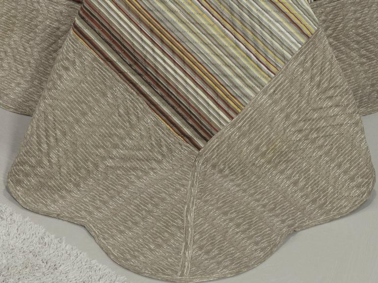 Kit: 1 Cobre-leito Casal Bouti de Microfibra Ultrasonic Estampada + 2 Porta-travesseiros - Osaka Taupe - Dui Design