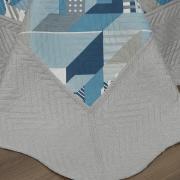 Kit: 1 Cobre-leito Solteiro Bouti de Microfibra Ultrasonic Estampada + 1 Porta-travesseiro - Oslo Indigo - Dui Design