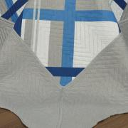 Kit: 1 Cobre-leito Queen Bouti de Microfibra Ultrasonic Estampada + 2 Porta-travesseiros - Oslo Indigo - Dui Design