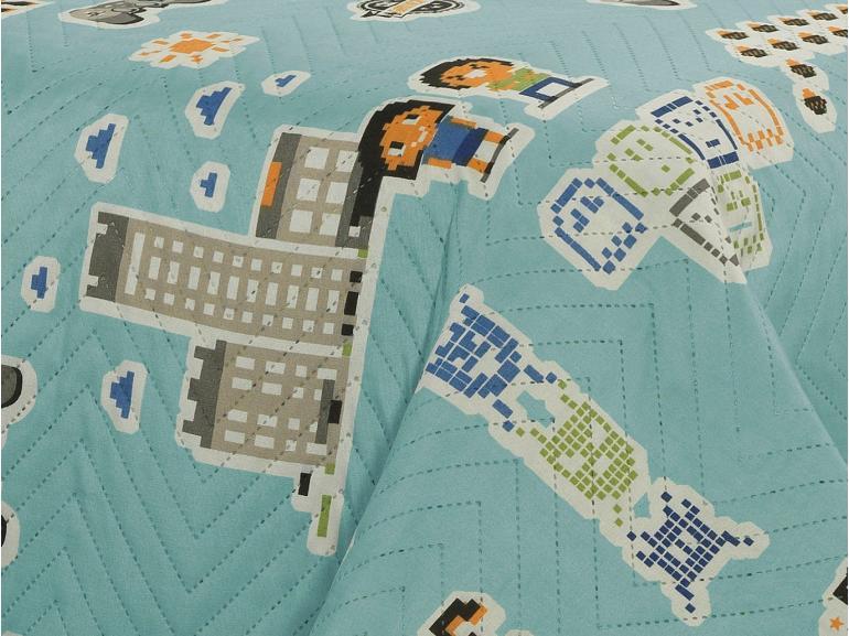 Kit: 1 Cobre-leito Casal Kids Bouti de Microfibra PatchWork Ultrasonic + 2 Porta-travesseiros - Pac Azul Man - Dui Design