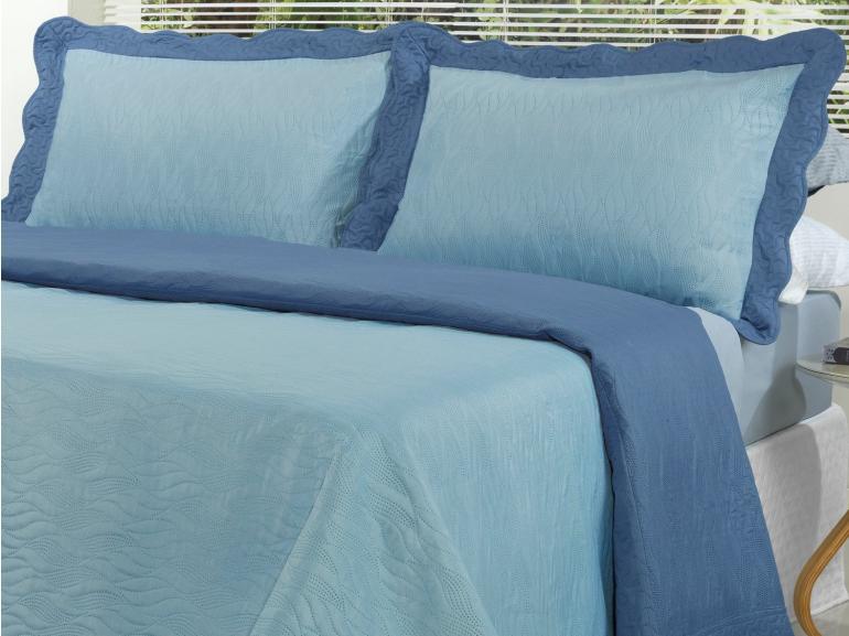 Kit: 1 Cobre-leito Casal Bouti de Microfibra Ultrasonic + 2 Porta-travesseiros - Pacific Azul - Dui Design