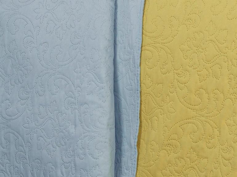 Kit: 1 Cobre-leito Casal Bouti de Microfibra Ultrasonic + 2 Porta-travesseiros - Palace Amarelo e Azul - Dui Design