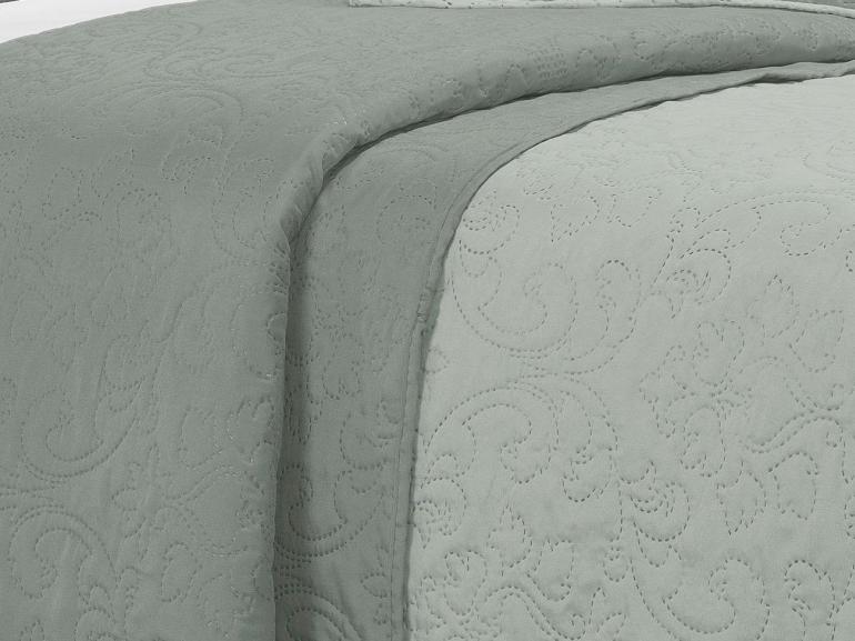 Kit: 1 Cobre-leito Casal Bouti de Microfibra Ultrasonic + 2 Porta-travesseiros - Palace Cinza - Dui Design